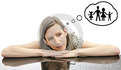 Woman dreaming about family