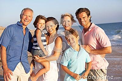 Portrait Of Three Generation Family On Beach