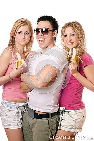 Portrait of three joyful young people