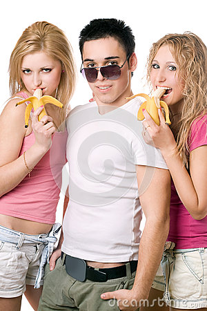 Portrait of three playful young people. Isolated