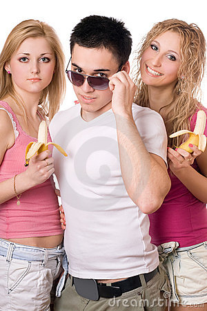 Portrait of three pretty young people