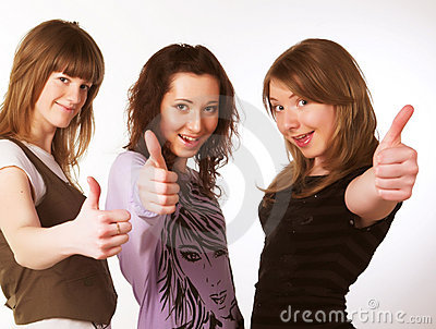 Portrait of three smiling attractive girls