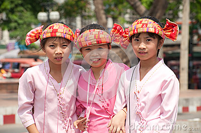 Portrait of three young girls on parades in Poy-Sang-Long Festiv Editorial Image