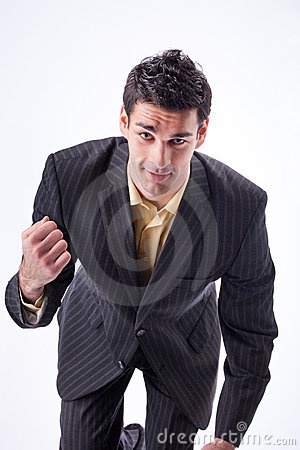 Portrait of tough businessman