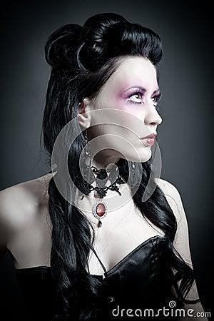Portrait of a tough gothic woman