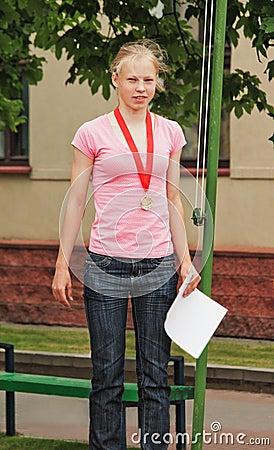 Portrait of triathlon  competition winner