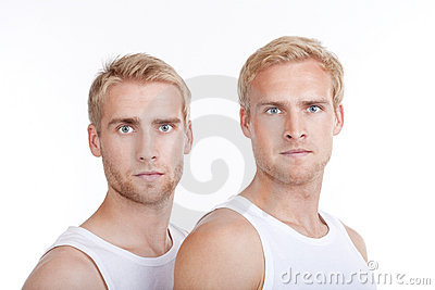 Portrait of twin brothers