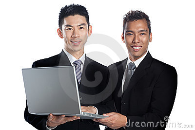Portrait of two Asian professionals presenting