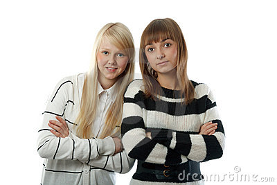 Portrait two beautiful girls in striped cloth