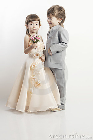Portrait Of Two Beautiful Little Boy And Girl Stock Image - Image ...