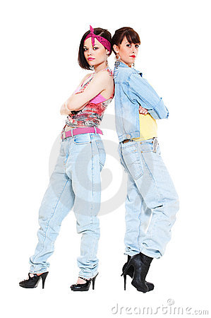 Portrait of two girls in jeans
