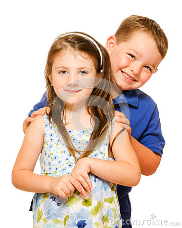 Portrait of two happy children