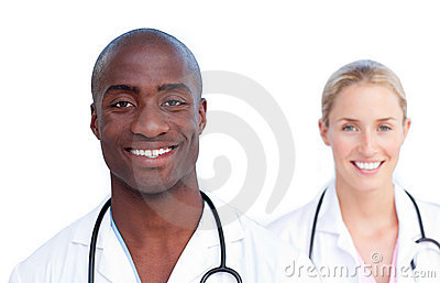 Portrait of two jolly doctors