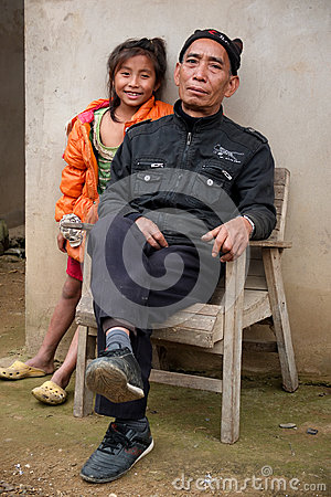 Portrait of two Laotian people.