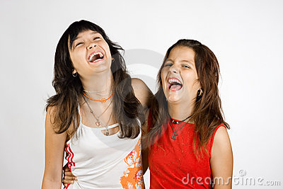 Portrait of two laughing girls