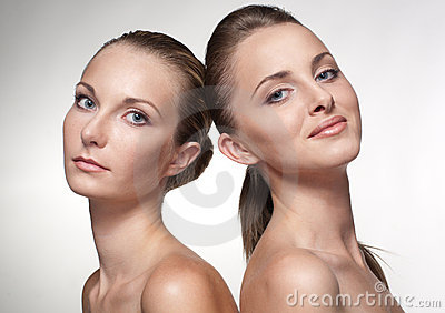 Portrait of two sexy caucasian young girls