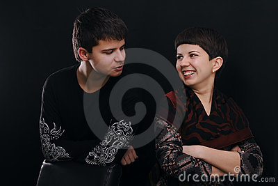 Portrait of two young peoples