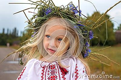 Portrait of ukrainian girl in chaplet