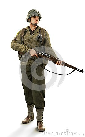 Portrait of a uniformed male world war 2 combat soldier on an isolated white background. Stock Photo