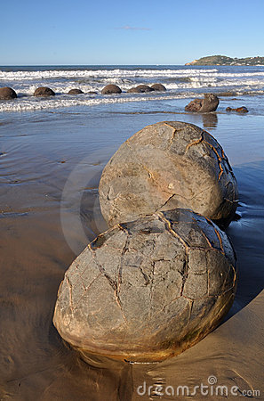 Portrait View of The Moeraki Boulders, New Zealand