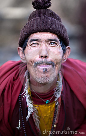 Portrait of village buddhist lama Editorial Photo