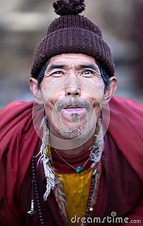 Portrait of village buddhist lama Editorial Photo