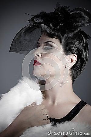 Portrait Widow on gray background