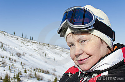 Portrait of a woman alpine skier