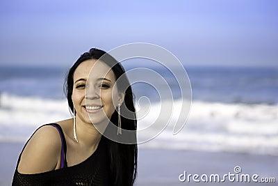 Portrait woman in the beach