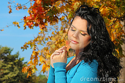 Portrait woman with beauty make up in autumn