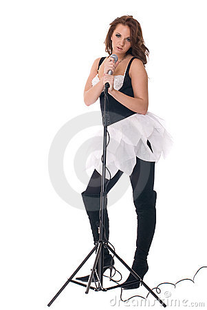 Long Cool Womanblack Dress on Portrait Of Woman In Black Dress With Microphone Stock Images   Image
