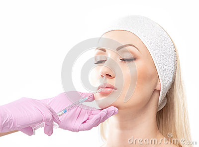Portrait of a woman on a botox procedure
