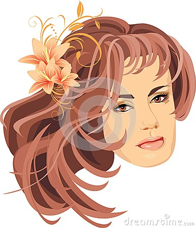 Portrait of woman with bouquet of lilies in hair