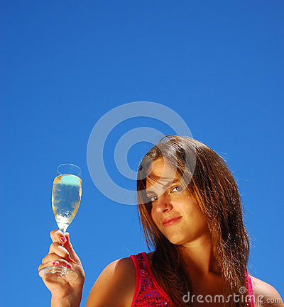 Portrait of woman with champagne