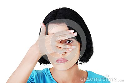Portrait woman covering eyes because of shame Stock Photo