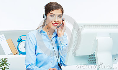 Portrait of woman customer service worker, call ce