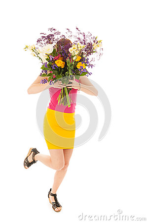 Portrait woman with flowers