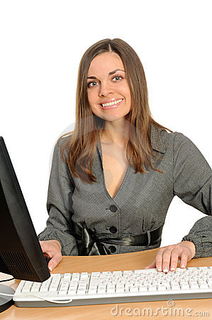 Portrait of the woman  in front of her computer