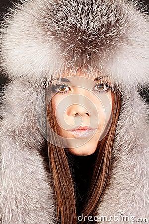 Portrait of a woman in fur hat