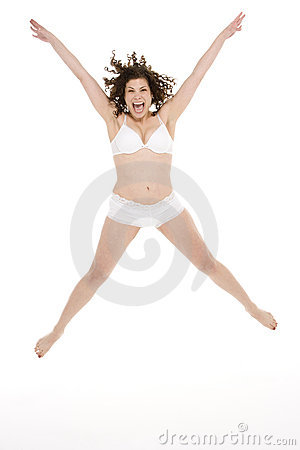 Portrait Of Woman In Her Underwear