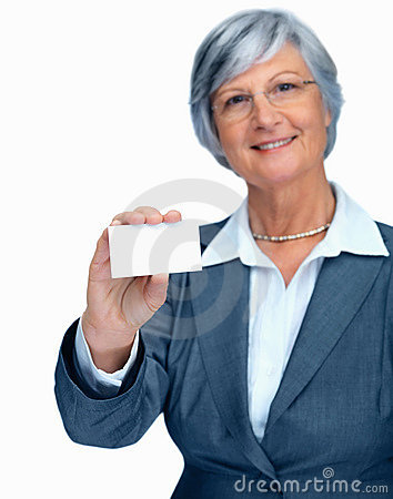 Portrait of an woman holding out a blank card