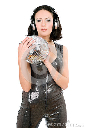 Portrait of woman with a mirror ball