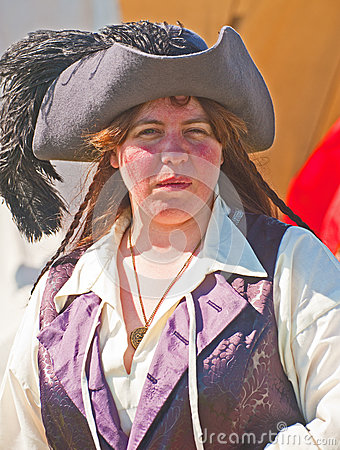 Portrait of a woman Pirate at Fort George Editorial Stock Image