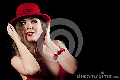 Portrait of woman with a red hat