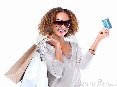 Portrait of a woman shopping  with visa  card