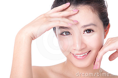 Portrait of woman smile face and hand touch face