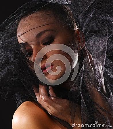Portrait of woman in veil