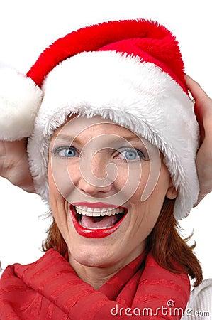 Portrait of woman wearing Santa s hat