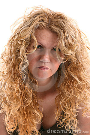 Portrait of wrinkly young woman with long blonde curly hair