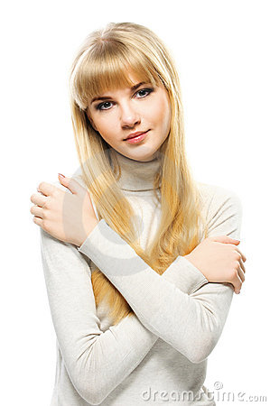 Portrait of young alluring blonde